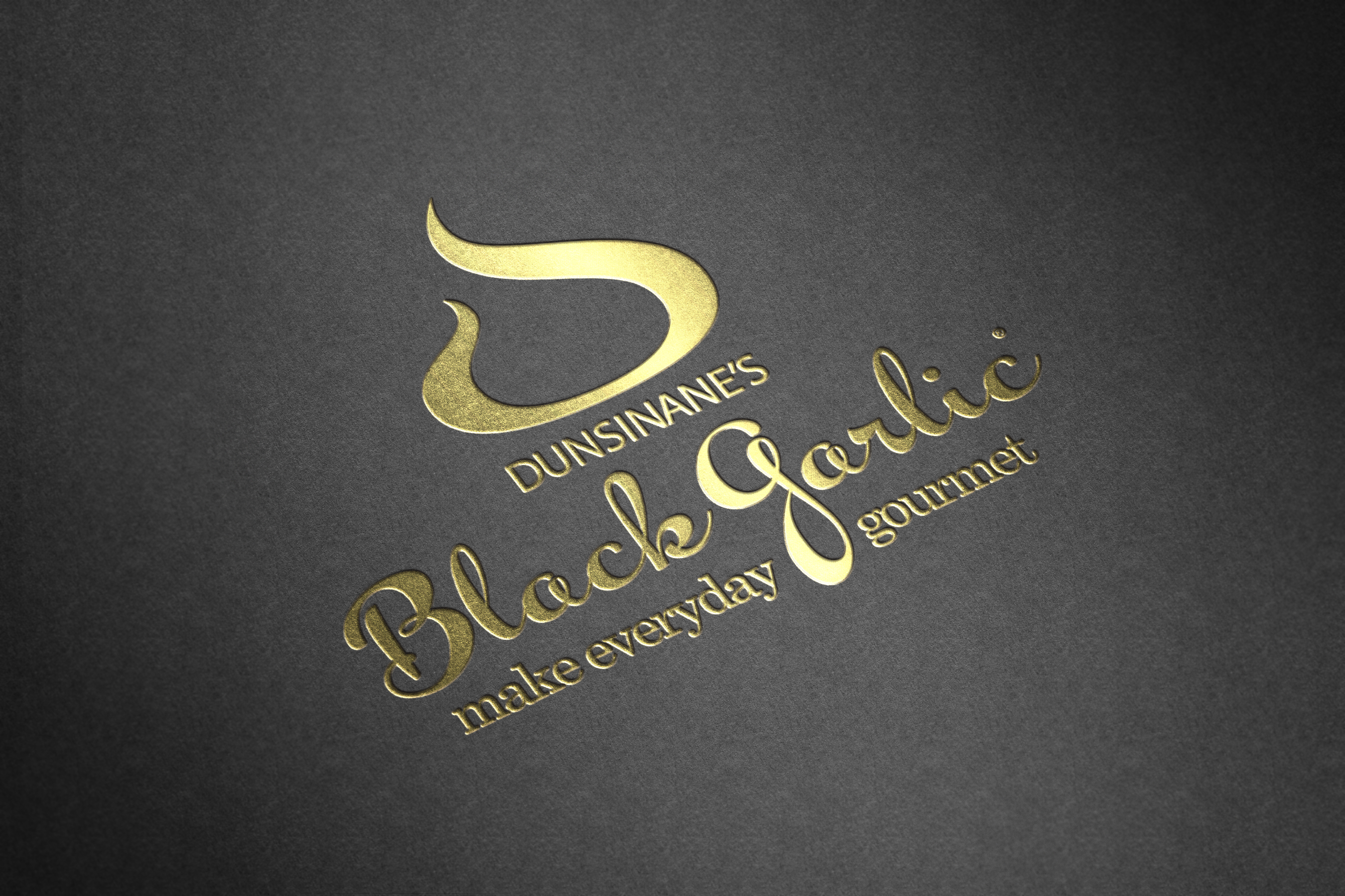 Gold Foil Dunsinanes Black Garlic Logo and branding for Chefs