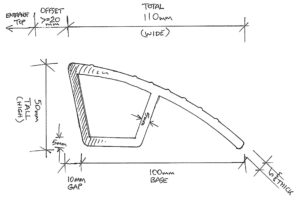 The Best Driveway Ramp (Kerby) Measurements for the Aluminium Extrusion is 5mm thick all round. Total width is 110mm (base closest to the curb is offset by 10mm at the bottom of the extrusion (the base) which is 100mm as we look at the sketch), by 50mm high/tall.