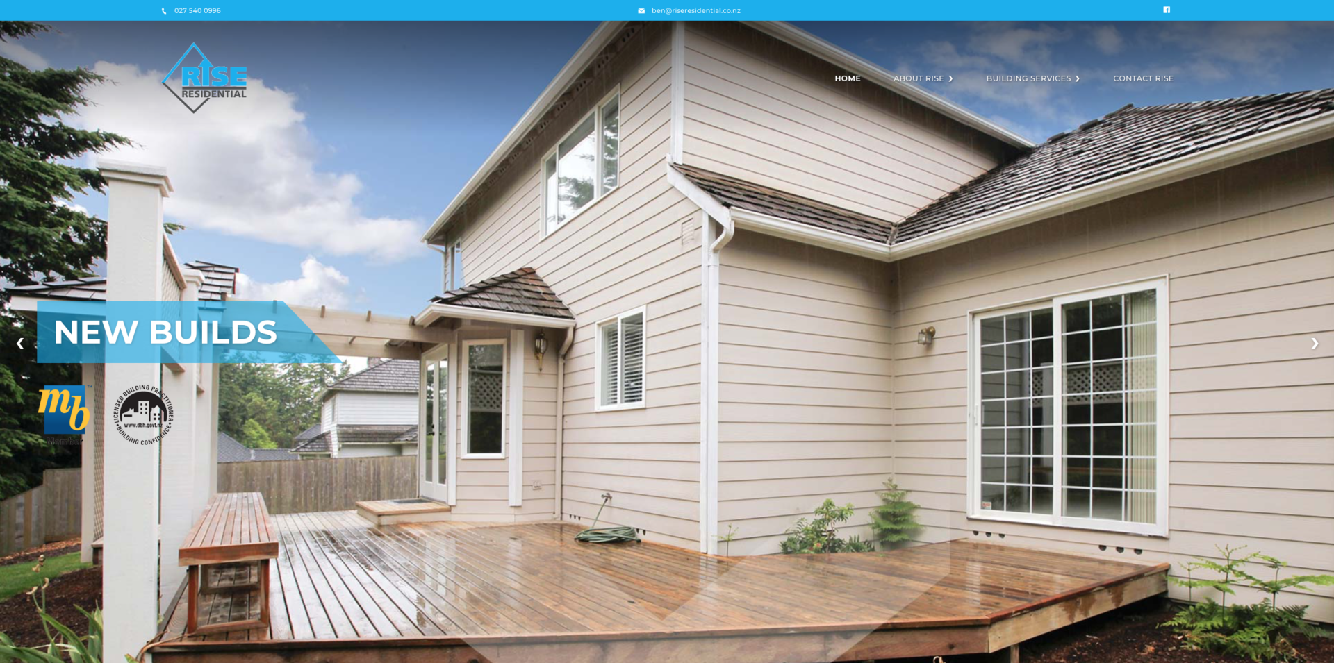 Rise Residential NZ - website design and development with a striking sky blue colour symbolizing clean precise and outdoors. Based in Rolleston, Selwyn and Christchurch. This is WordPress website design trying to show you it's not all about who has the biggest deck - every deck is different and combine that with new builds and renovations anything can be done to increase the value and x-factor of your home