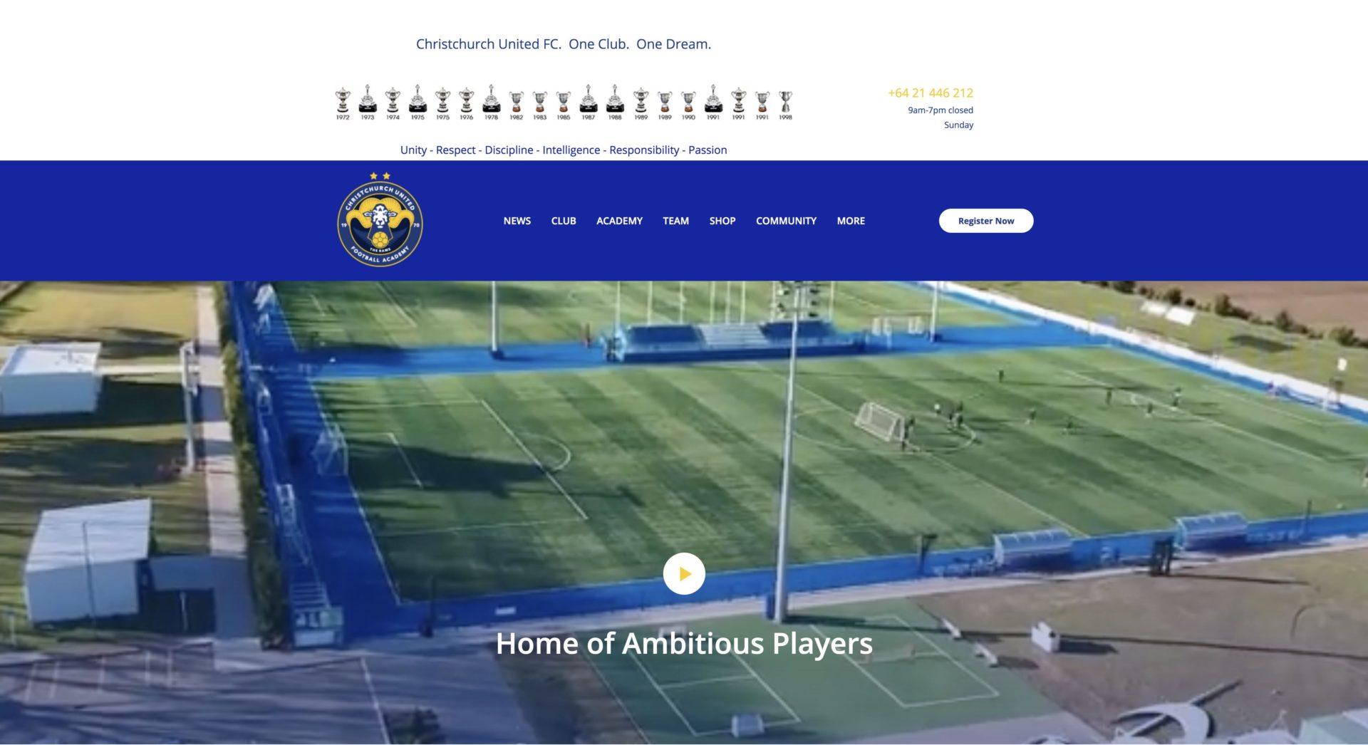 Christchurch United Football Club CUFC New Zealand website design and development main hero is a video